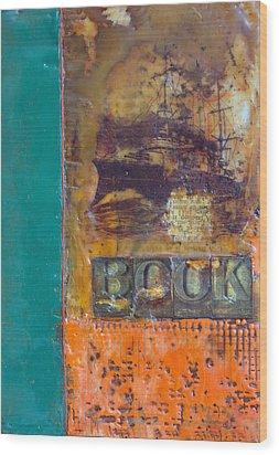 Book Cover Encaustic Wood Print by Bellesouth Studio