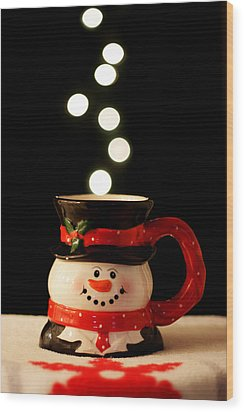 Wood Print featuring the photograph Bokeh Fun With Snowman Mug by Barbara West