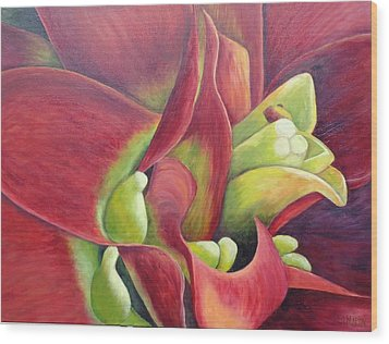 Bold And Beautiful - A Bromeliad Wood Print by Annie St Martin
