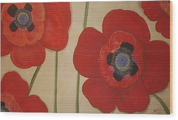 Bold Poppies Wood Print