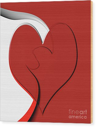 Bold Red Abstract Heart On Red And White Design 2 Wood Print