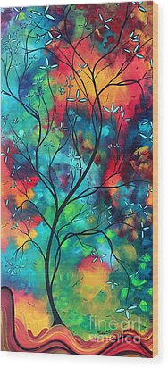 Bold Rich Colorful Landscape Painting Original Art Colored Inspiration By Madart Wood Print by Megan Duncanson
