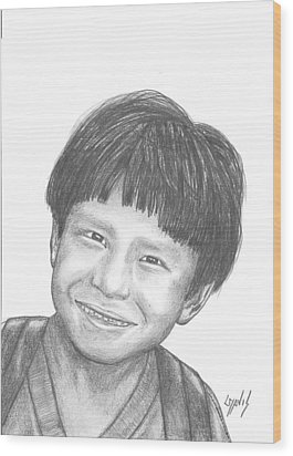 Wood Print featuring the drawing Bolivian Jungle Child by Lew Davis