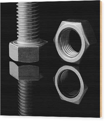 Bolt And Nut Wood Print by Jim Hughes