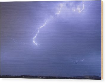 Bolts Of Lightning Arcing Through The Night Sky Wood Print by James BO  Insogna