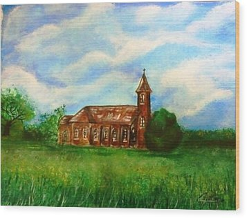 Wood Print featuring the painting Bomarton Church by The GYPSY And DEBBIE
