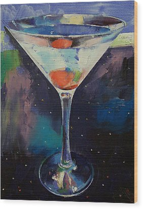 Bombay Sapphire Martini Wood Print by Michael Creese