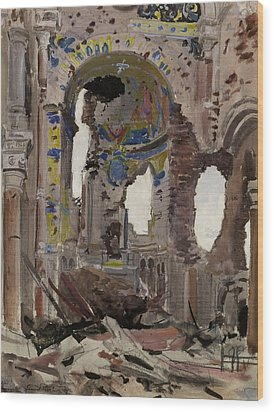 Bombed Out Interior Of Albert Church Wood Print by Ernest Proctor