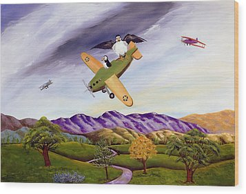 Wood Print featuring the painting Bombs Away by Susan Culver