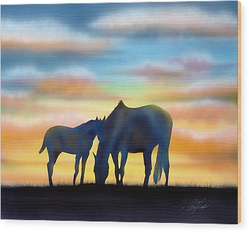 Bonding At Dusk - 1 Wood Print by Chris Fraser
