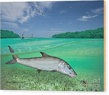 Bonefish Flat Wood Print by Alex Suescun