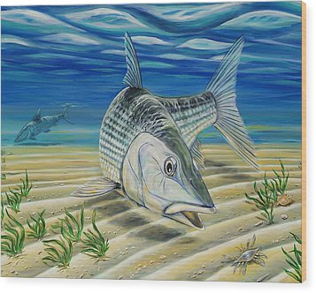 Bonefish On The Flats Wood Print by Steve Ozment