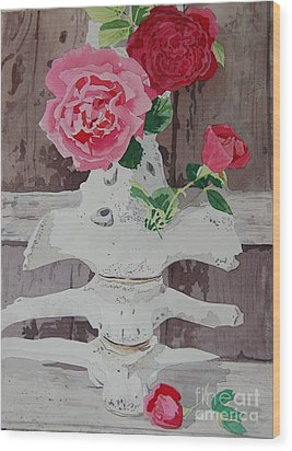 Bones And Roses Wood Print by Terry Holliday