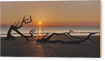 Bones Beach Sunrise Wood Print by Debra and Dave Vanderlaan