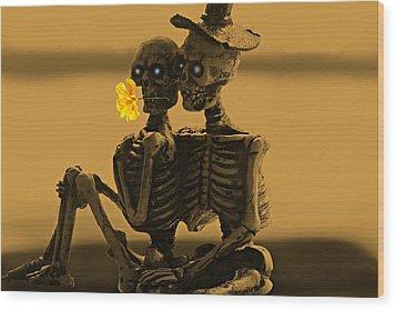 Bones In Love  Wood Print by David Dehner