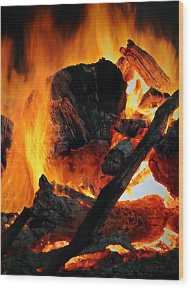Bonfire  Wood Print by Chris Berry