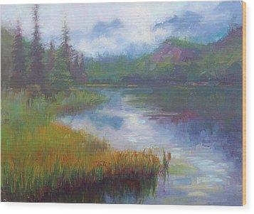 Bonnie Lake - Alaska Misty Landscape Wood Print by Talya Johnson