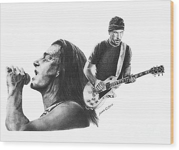 Bono And The Edge Wood Print by Marianne NANA Betts