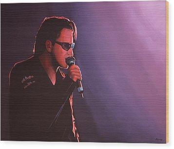 Bono U2 Wood Print by Paul Meijering