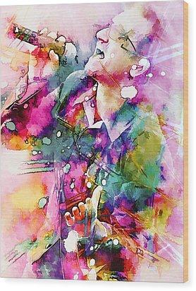 Bono Singing Wood Print by Rosalina Atanasova