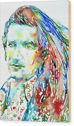 Bono Watercolor Portrait.2 Wood Print by Fabrizio Cassetta