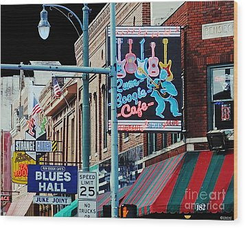 Boogie On Beale St Memphis Tn Wood Print by Lizi Beard-Ward