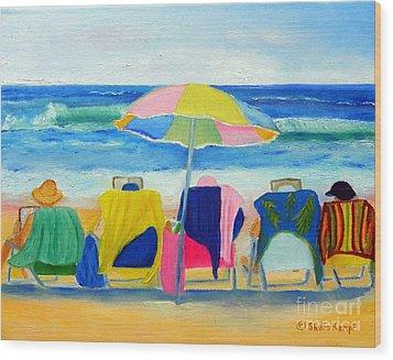 Book Club On The Beach Wood Print
