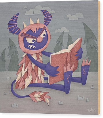 Book Wood Print by David Fedan