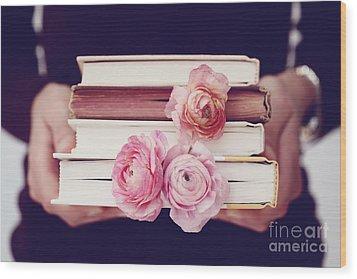 Book Love Wood Print by Kim Fearheiley
