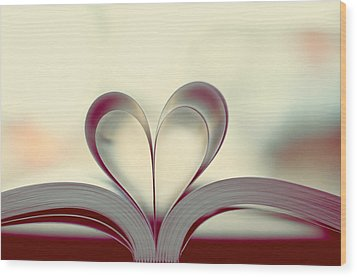 Book Lover Wood Print by Sofia Walker
