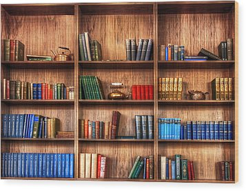 Book Shelf Wood Print by Svetlana Sewell