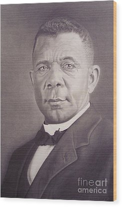 Wood Print featuring the drawing Booker T Washington by Wil Golden
