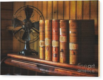 Books And Fan Wood Print by Jerry Fornarotto