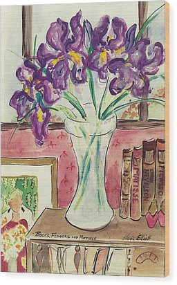 Wood Print featuring the painting Books Flowers And Matisse by Elaine Elliott
