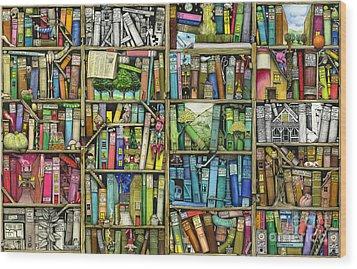 Bookshelf Wood Print by Colin Thompson