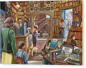 Bookshop Wood Print by Steve Crisp