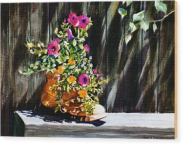 Wood Print featuring the painting Boot Bouquet by Karol Wyckoff
