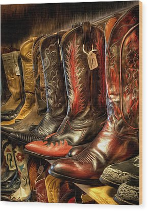 Boot Rack Wood Print by Michael Pickett