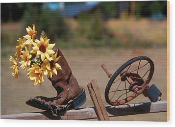 Boot With Flowers Wood Print by Ron Roberts