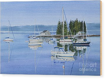 Boothbay Harbor Reflections Wood Print by Karol Wyckoff