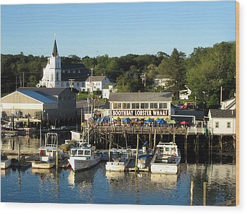 Boothbay Lobster Wharf Maine Wood Print by Patricia E Sundik