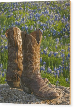 Boots And Bluebonnets Wood Print by David and Carol Kelly