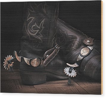Boots And Spurs Wood Print by Krasimir Tolev