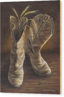 Wood Print featuring the painting Boots And Wheat by Kim Lockman