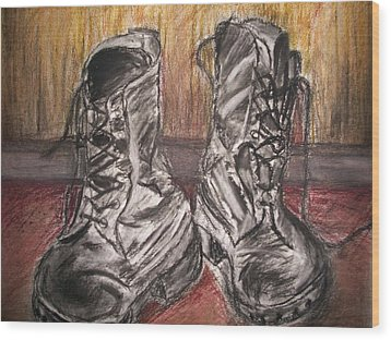 Wood Print featuring the mixed media Boots In The Hall Way by Teresa White