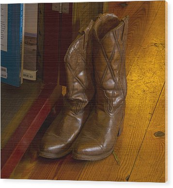 Boots Not Made For Walking Wood Print by Jean Noren
