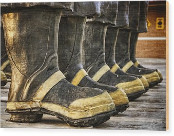 Boots On The Ground Wood Print by Joan Carroll