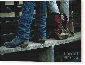 Boots Tell The Story Wood Print by Bob Christopher