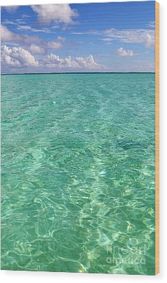 Bora Bora Green Water II Wood Print