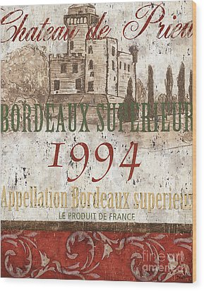 Bordeaux Blanc Label 2 Wood Print by Debbie DeWitt